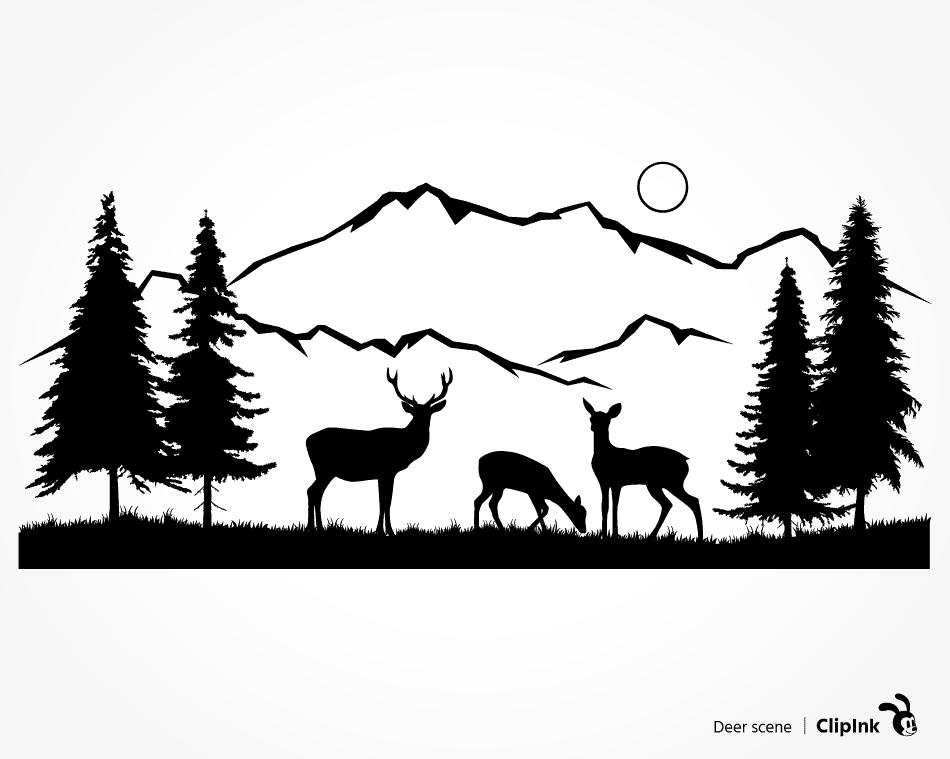 Deer Scene Svg Deer Nature Scene Svg Png Eps Dxf Pdf Clipink