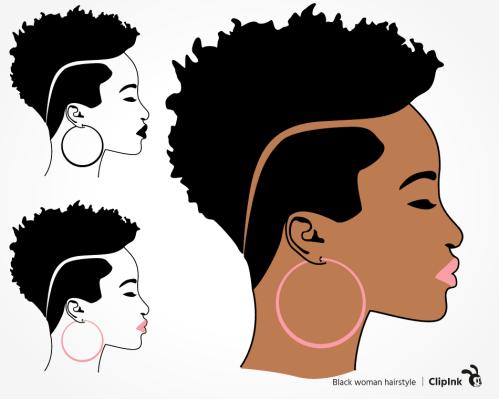 black woman hair svg