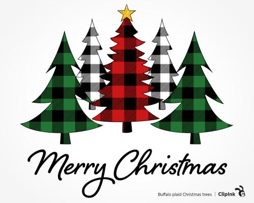 buffalo plaid Christmas tree svg