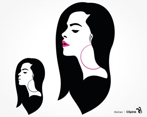 long hair woman svg