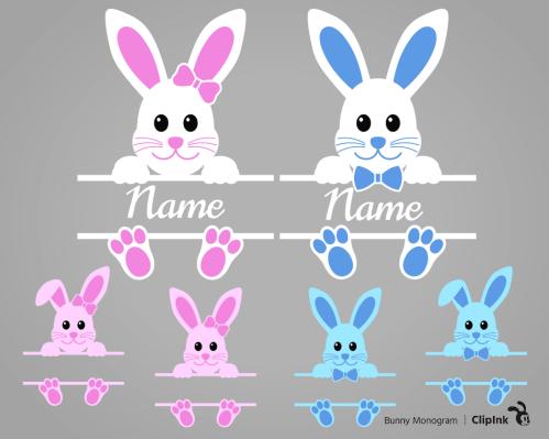 bunny monogram svg