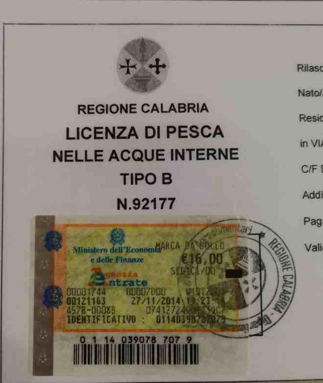 licenza di pesca acque interne Regione Calabria
