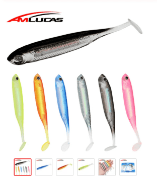 soft bait AMLUCAS pacco da 6 esche colore naturale