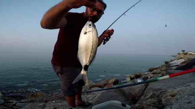 occhiata a feeder fishing dalla scogliera artificiale