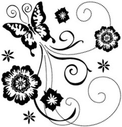 butterfly scroll clipart stamps clear inkadinkado tattoo clip border butterflies mini vine flowers floral mariposas blanco negro designs outline google