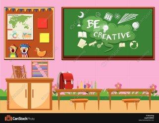 empty cartoon classroom background Clip Art Library