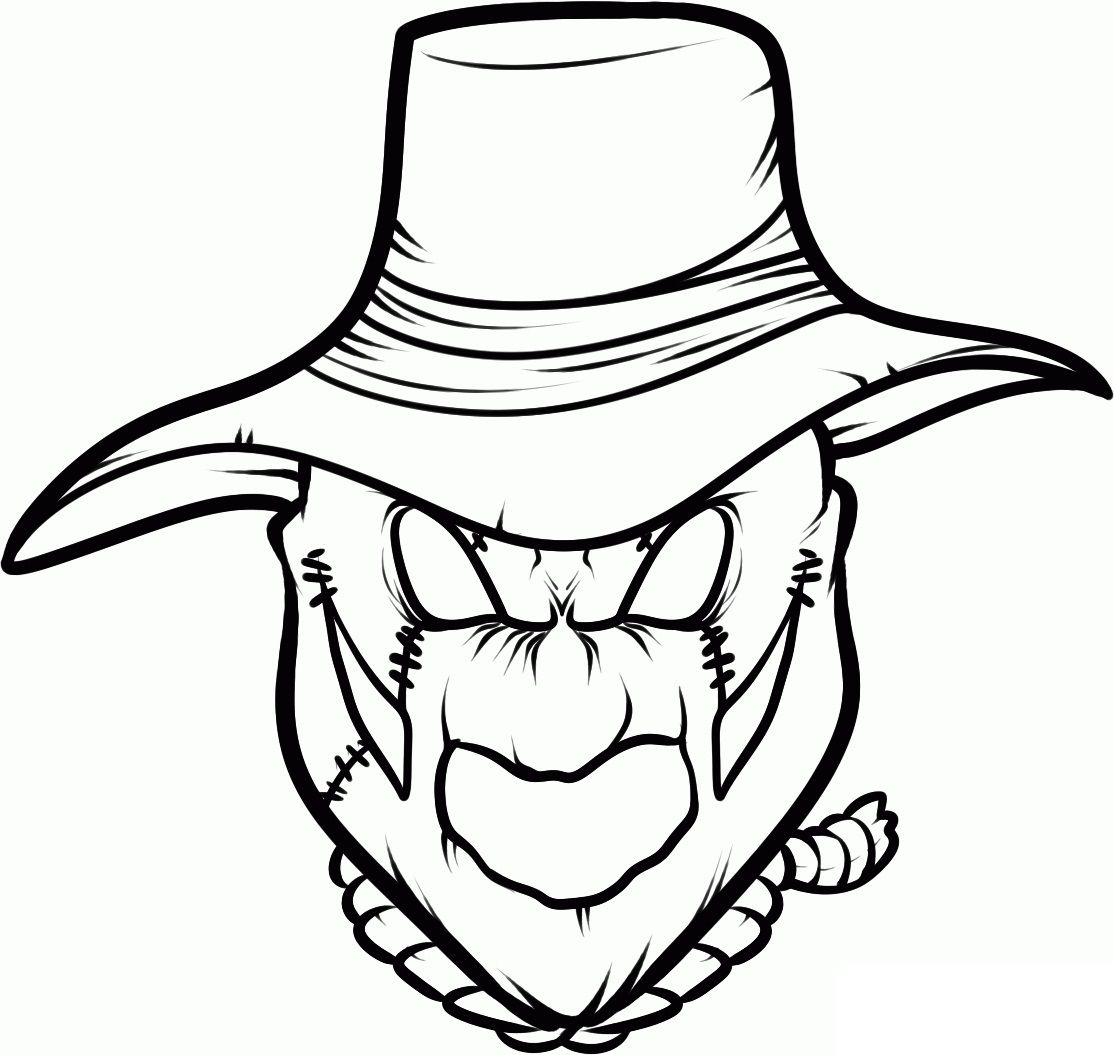Scary Scarecrow Coloring Page Clip Art Library