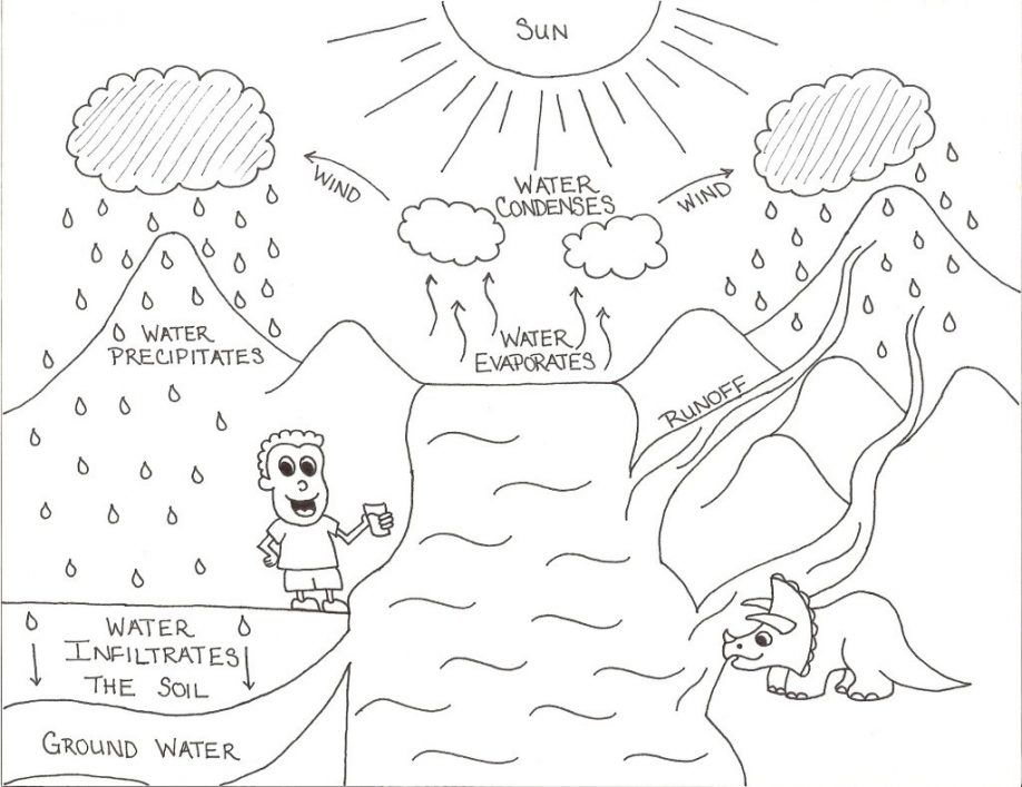 Free Water Cycle For Kids Coloring Page, Download Free