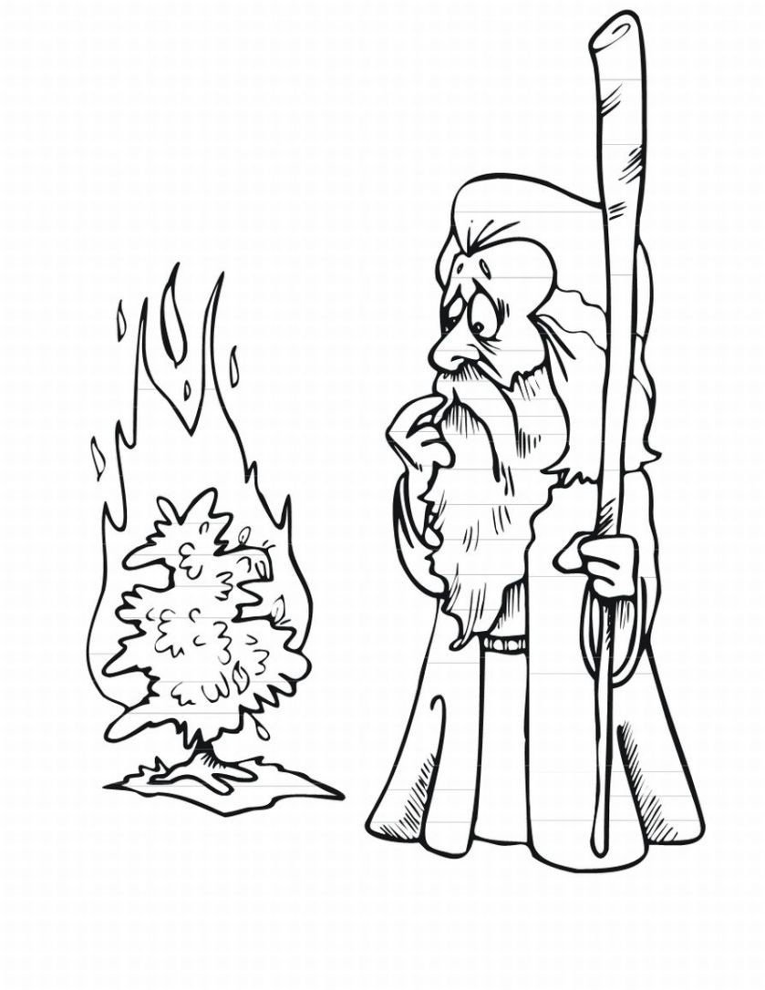 Free Moses And Burning Bush Coloring Page, Download Free