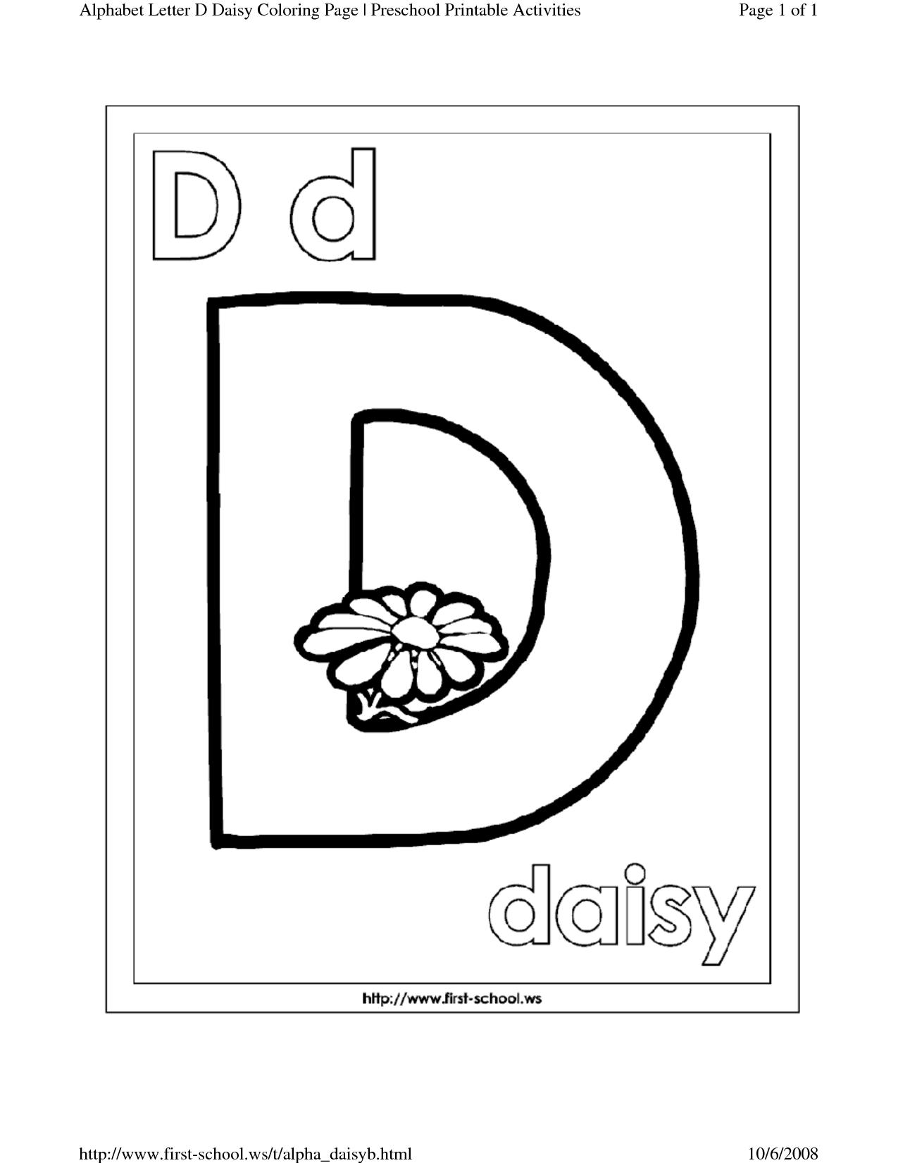 Letter D Coloring Worksheets For Preschool