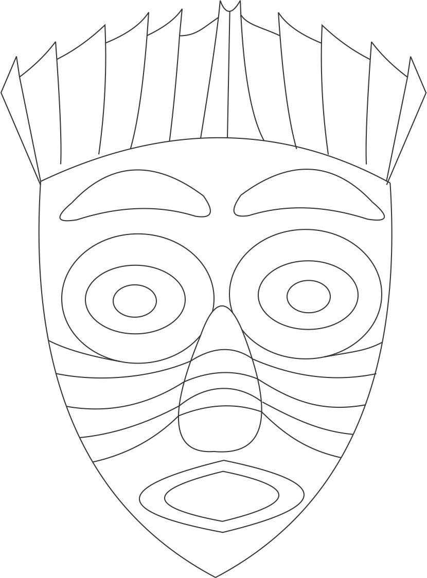 Free African Mask Coloring Page, Download Free African