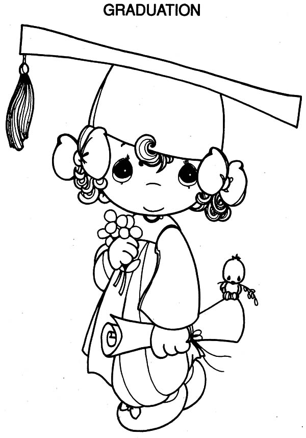 Graduating Kids Coloring Page Clip Art Library