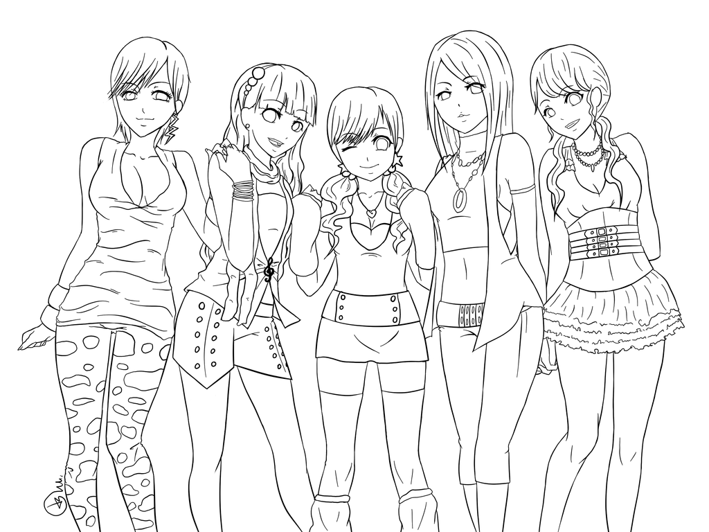 Anime Friends Girls Coloring Pages