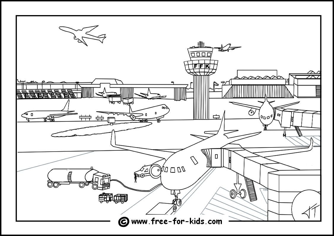 Printable Airport Coloring Pages