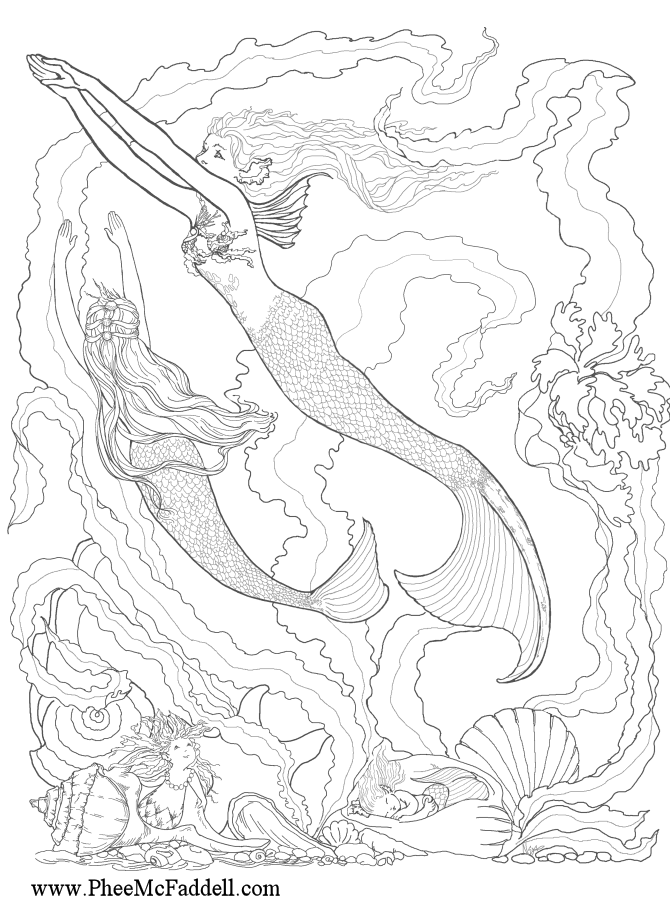 Free Coloring Pages Of Mermaids Download Free Clip Art Free Clip Art On Clipart Library