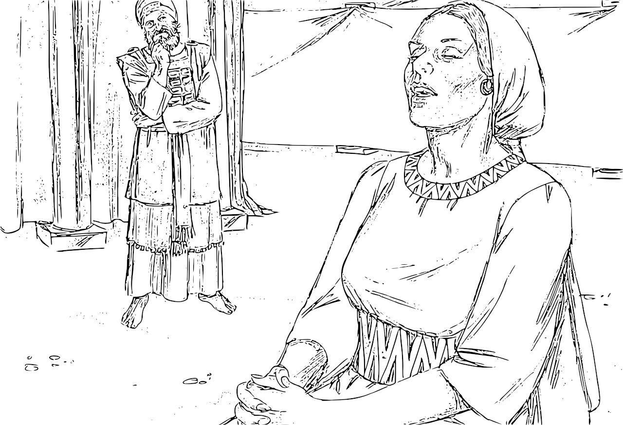 Free Hannah Bible Story Coloring Page, Download Free Clip