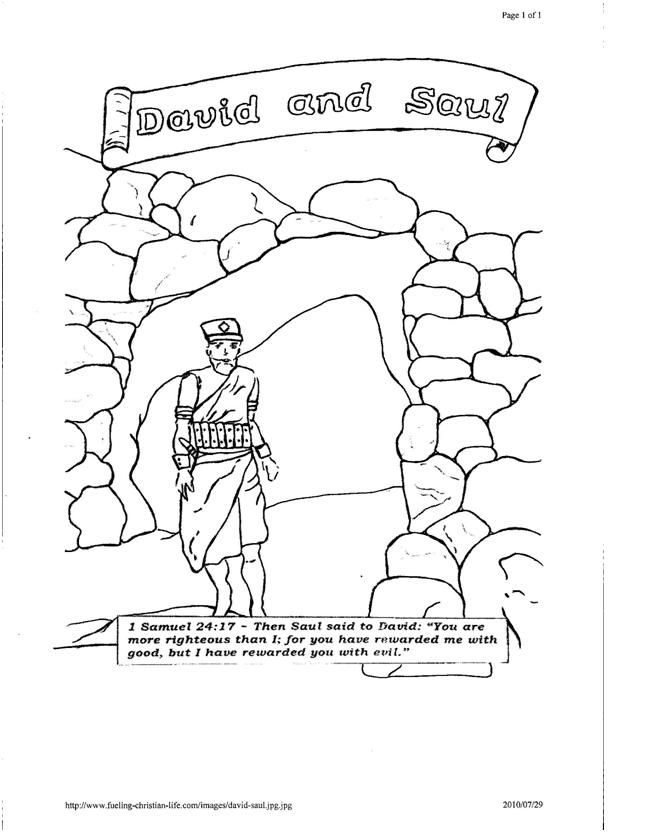Free King Saul And David In Cave Coloring Pages, Download