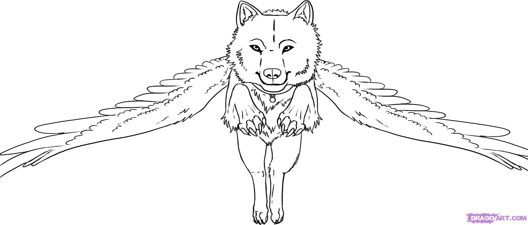 Free Wolves With Wings Coloring Pages, Download Free Clip