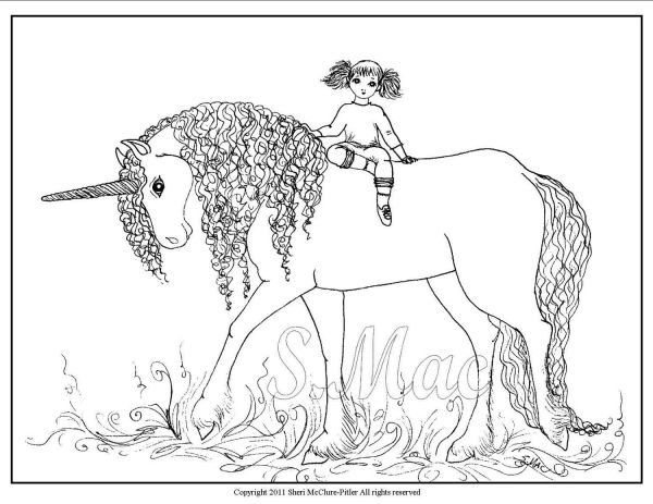 free coloring kids unicorn # 19