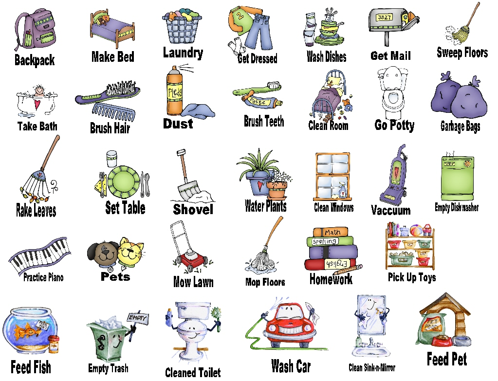 hight resolution of household chores clipart
