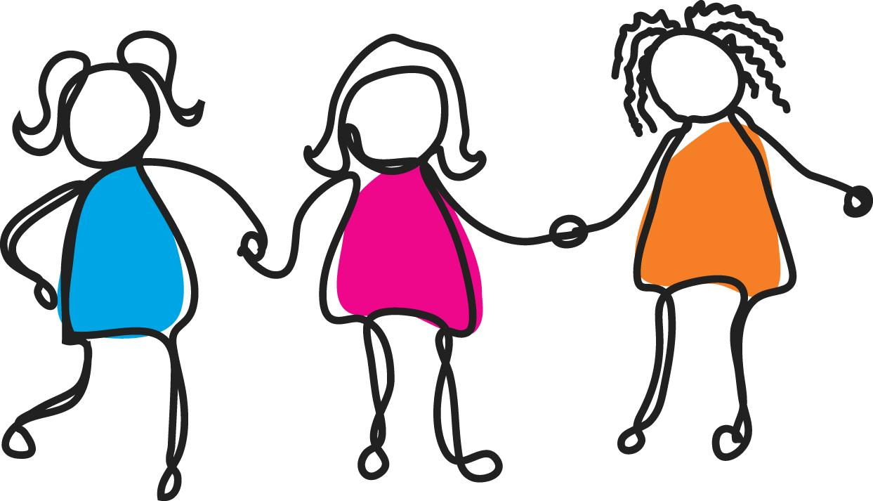 hight resolution of group of girl friends clipart