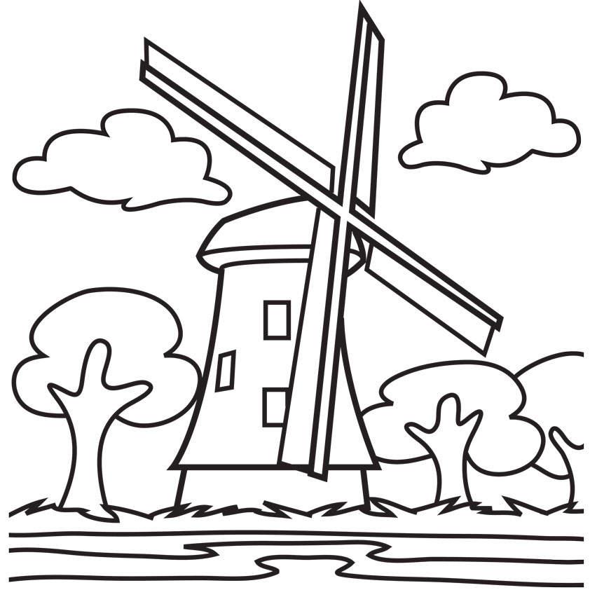 Nice And Beautiful Wind Mill Coloring Page