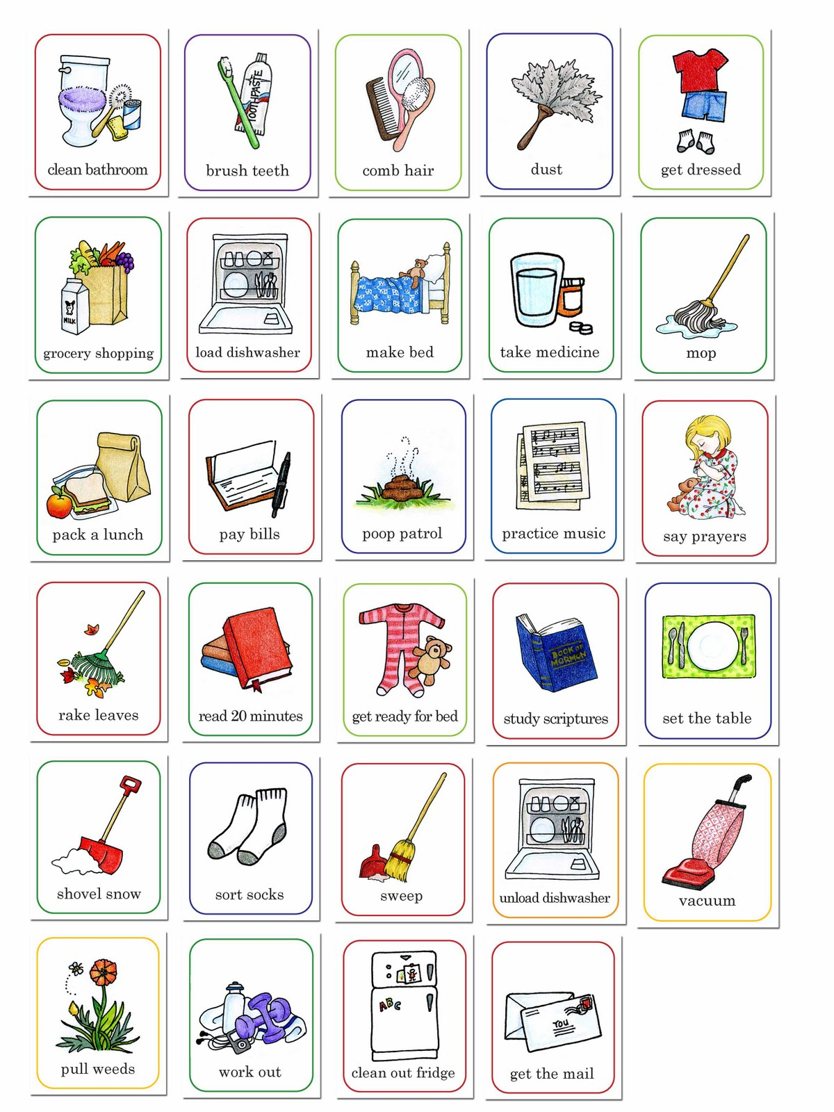 hight resolution of cute chores clipart