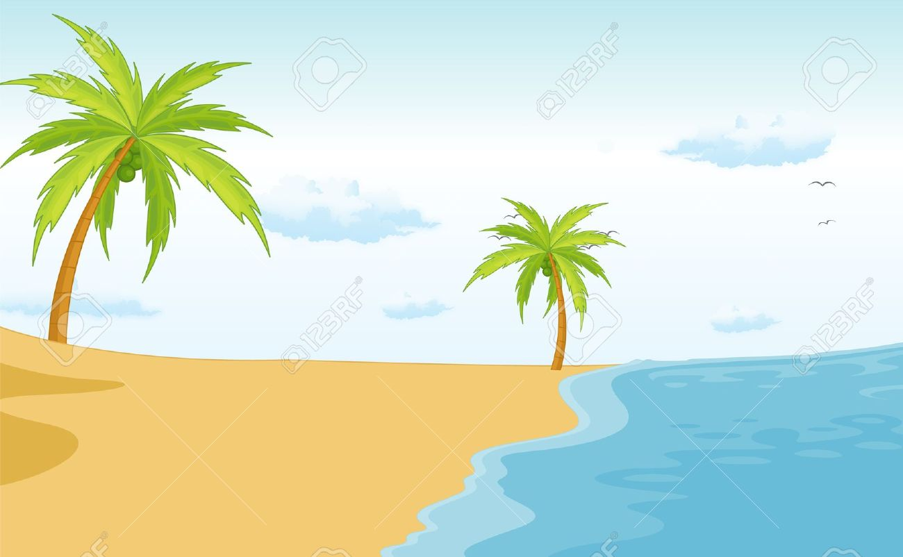 hight resolution of beach scene clipart