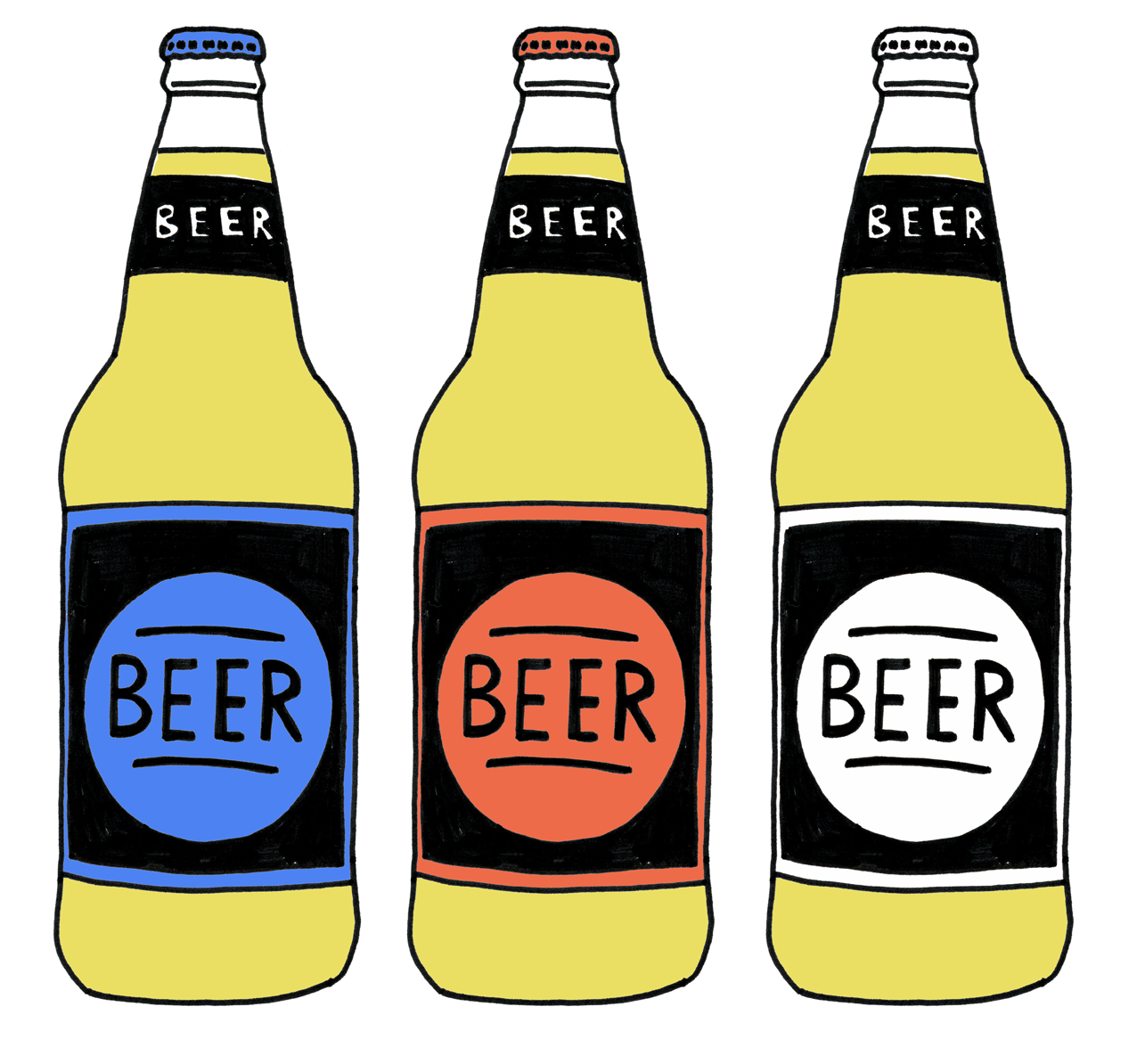 hight resolution of beer and cider bottle illustrations