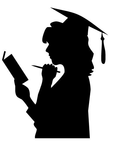 Graduation Silhouette Girl : graduation, silhouette, Female, Graduate, Silhouette,, Download, Clipart, Library