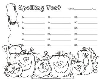 Enjoy this free Halloween spelling test template/form pack