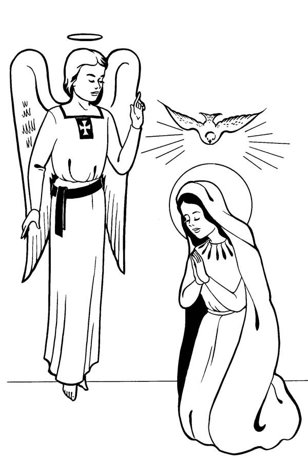 Annunciation With Angel Gabriel All Saints Day Coloring Page