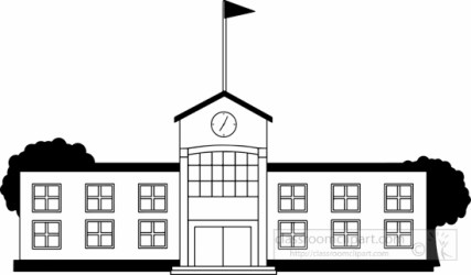 school building clipart black and white Clip Art Library