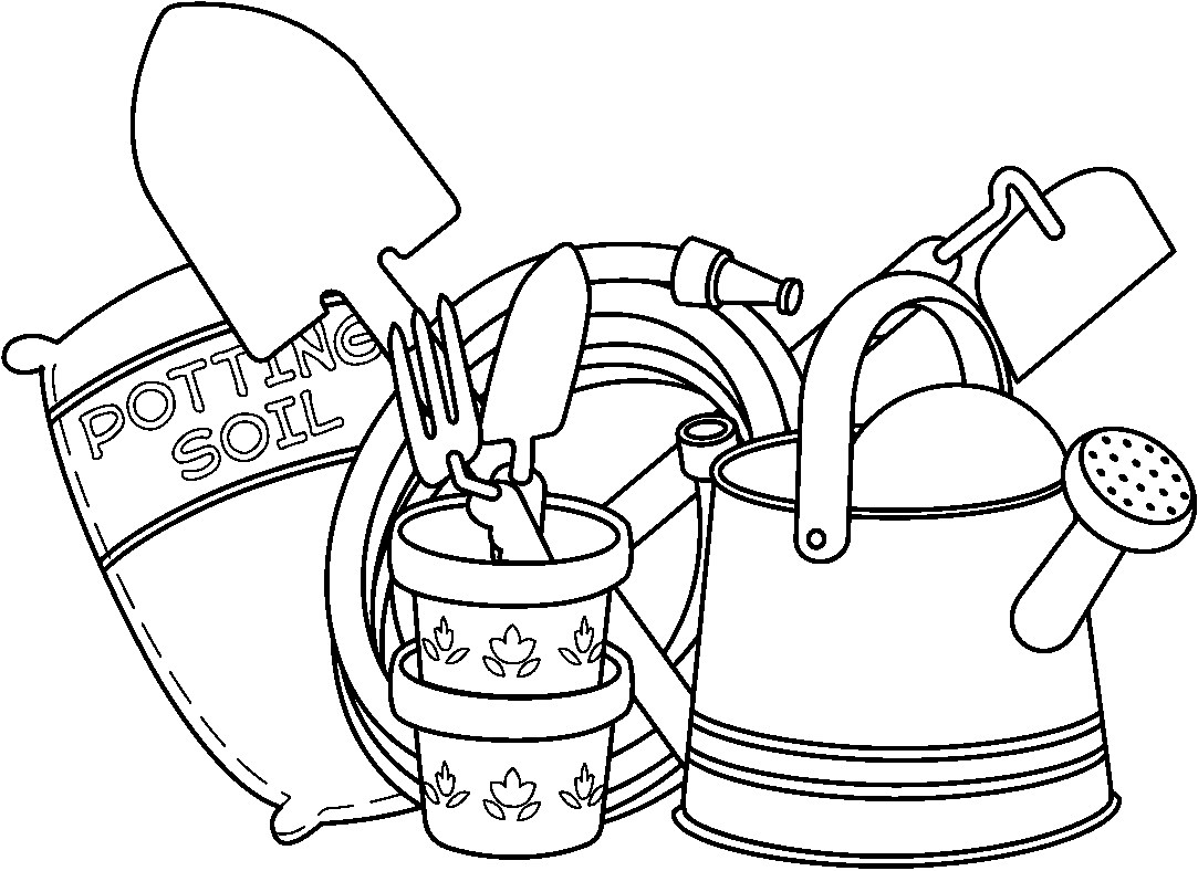 Retro Black And White Gardening Clipart Royalty Free