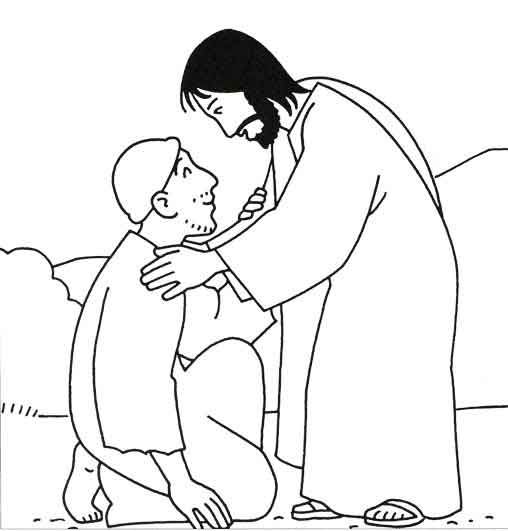 Jesus healing the sick black and white clipart