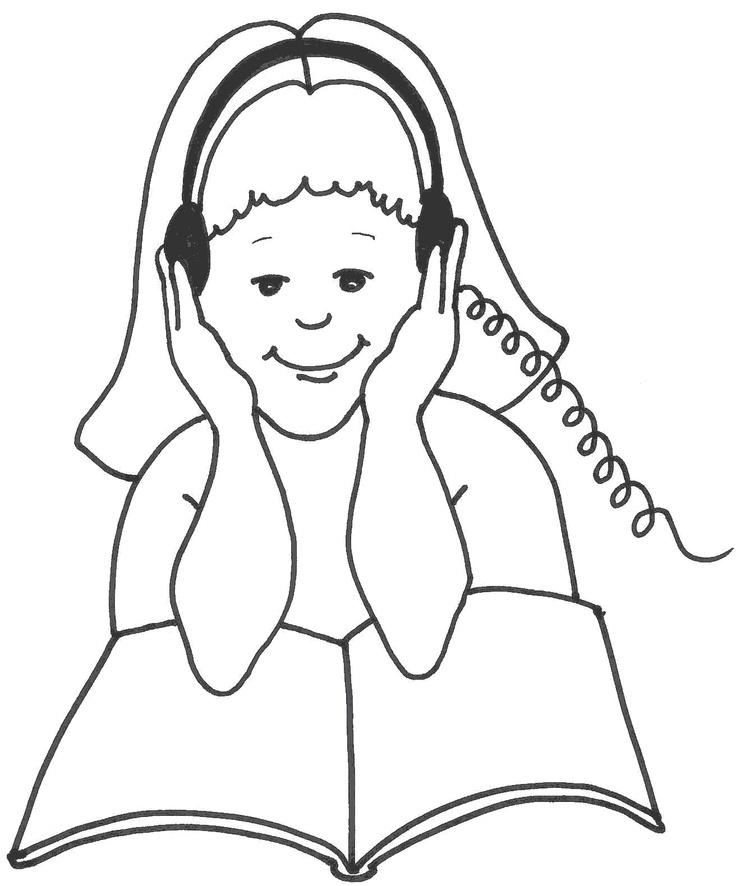 Clip Art Belajar : belajar, Clipart, Black, White, Listening, Library