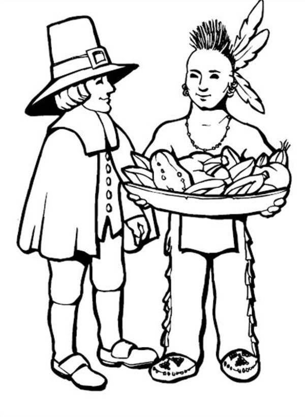 indian and pilgrim Colouring Pages (page 2)