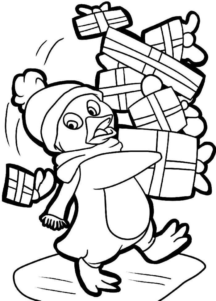 Christmas Penguin Coloring Sheet Clip Art Library