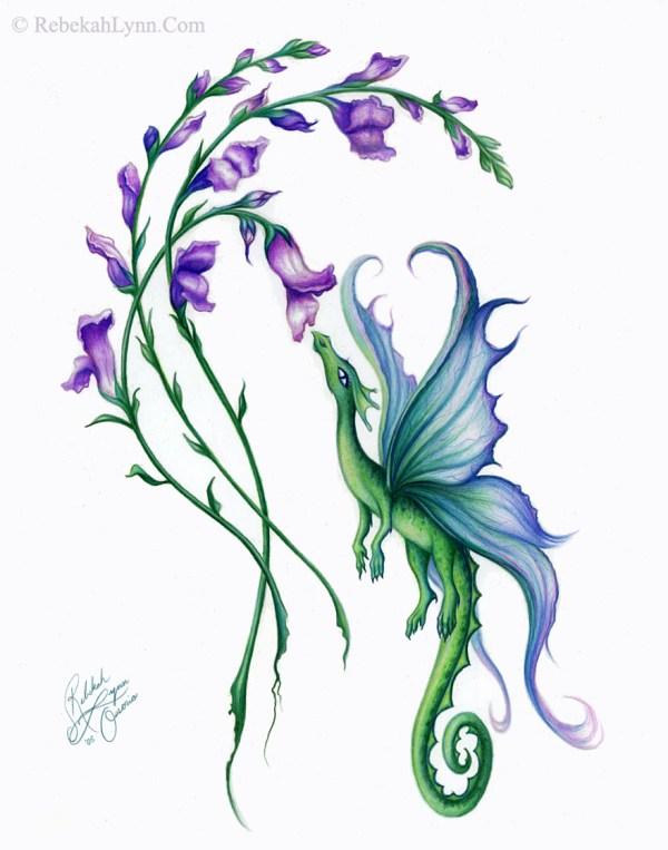 free snapdragon flower tattoo
