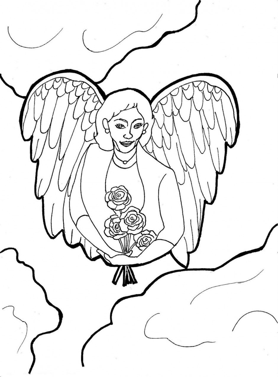 Guardian Angel Coloring Page Clip Art Of A Coloring Page