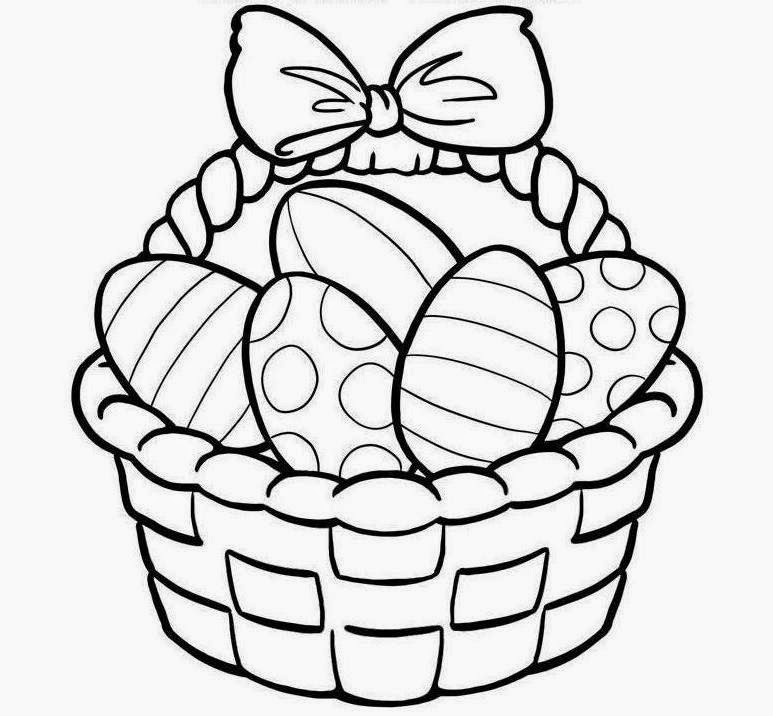 Colour Drawing Free Wallpaper: Easter Basket Coloring