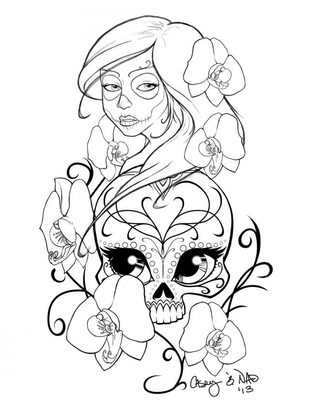 Sugar Skull Girl Tattoo Outline Clip Art Library