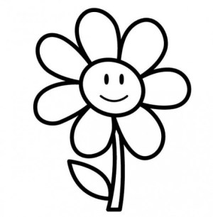 drawings easy library clipart colouring simple flower pages clip