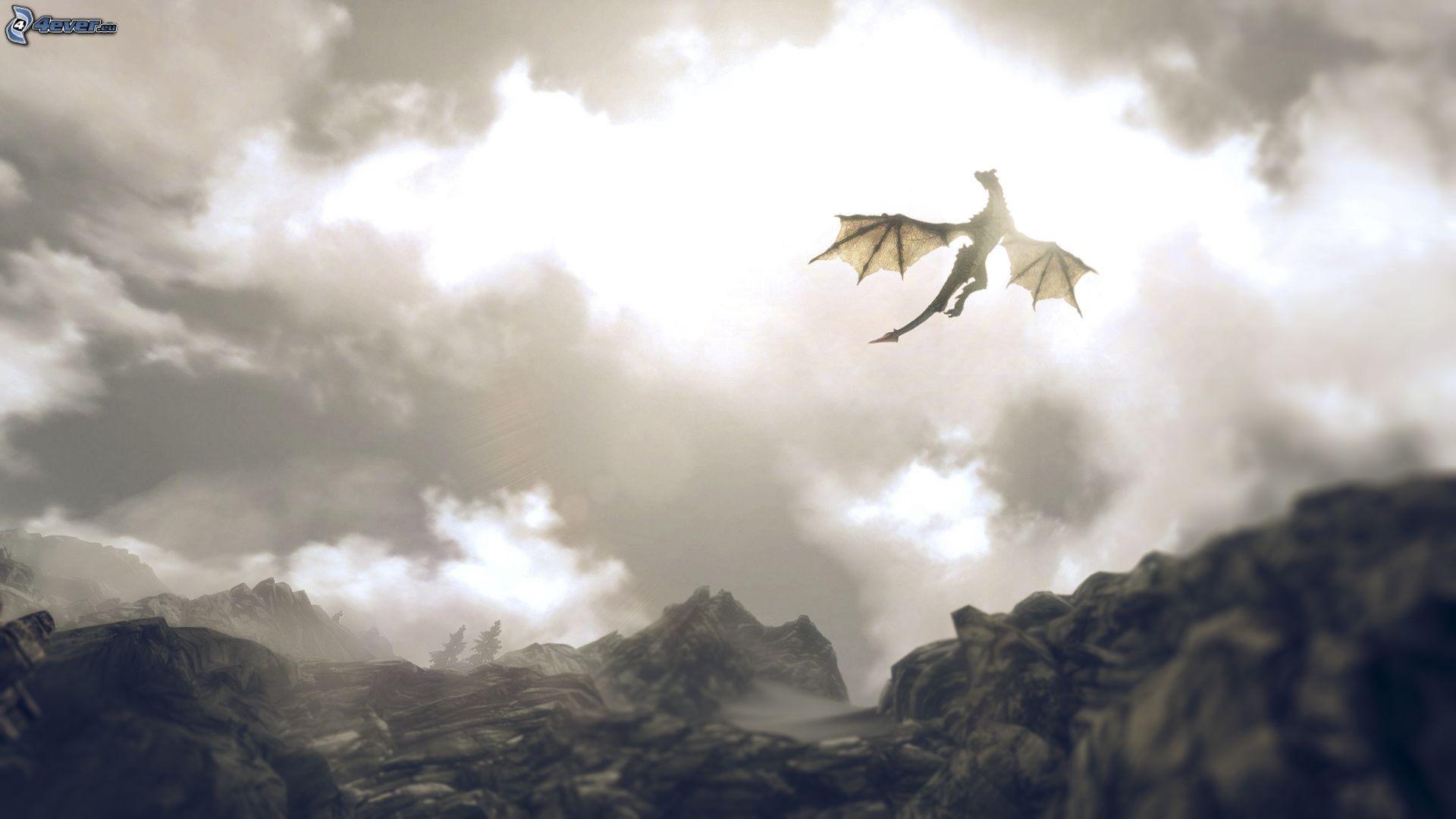 1920x1080 Wallpaper Tron Girl Flying Dragon Clouds
