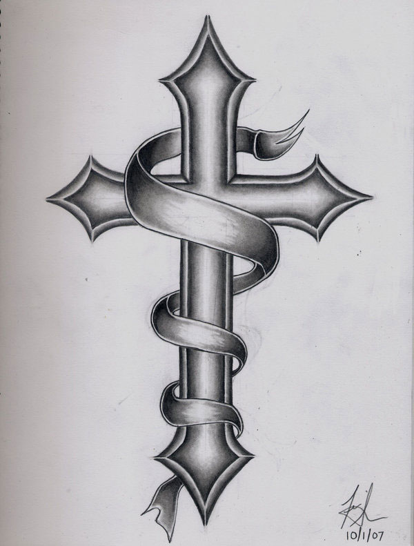 Cross Tattoo Outline : cross, tattoo, outline, Cross, Tattoos,, Download, Clipart, Library