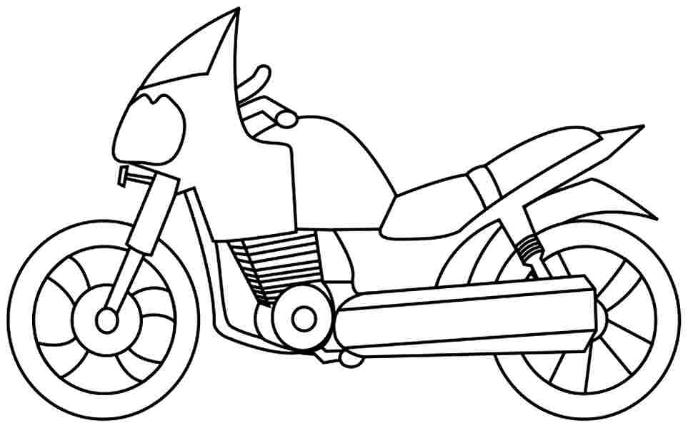 Colouring Pages Transportation Motorcycle Free For Toddler