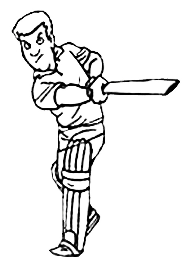 Free Online Cricket Batter Colouring Page