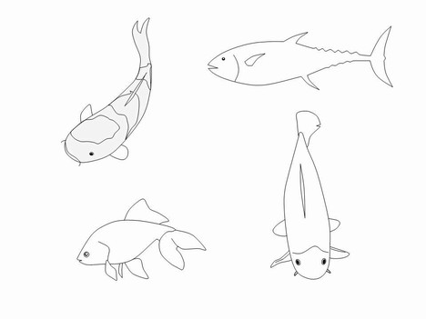 Fish Outline Clip Art PowerPoint Template