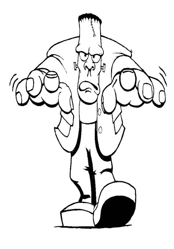 Furious Mr Frankenstein on Halloween Day Coloring Page