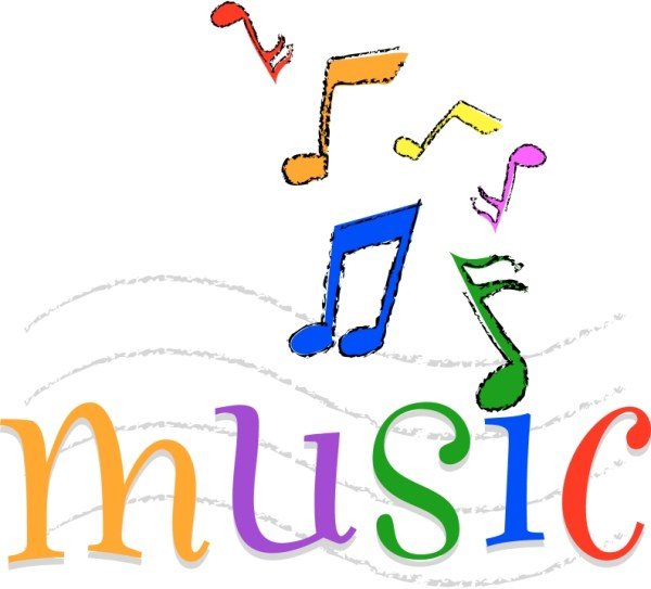 colorful music notes in line